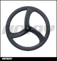 Wholesale Tri Spokes Carbon Wheelset - 700c carbon tri spoke wheelset track bike wheels or road bicycle carbon 3 spokes with HED painting