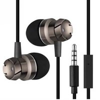Wholesale black metal gear - Original Metal Worm Gear In-ear Bass Earphones New High Quality 3.5mm Wire Belt Computer Supper Mobile Phone Universal OPP BAG