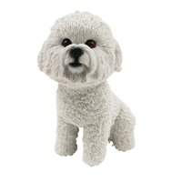 Wholesale Cars Christmas Ornament - Bichon Frise Dog Figurine resin dog animal statue wedding car decorations for home decoration christmas gift