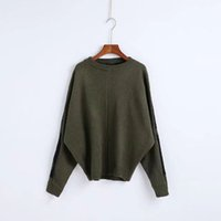 Wholesale Korean Style Large Size Woman - Plus Size Women Knitting Sweater 2017 Autumn and Winter New Korean Large Size Batwing Sleeve Contrast Color Back Female Pullover