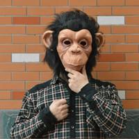 Wholesale Halloween Gorilla Mask - New Halloween Mask Animal Masks Latex Material Gorilla Masks Monkey King Comic Mask Lite With Hair