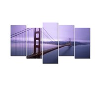 Wholesale City Bridge Paintings - Golden Gate Bridge Photo Canvas Prints City Landmark Canvas Printing Art Digital Canvas Print for Wall Decor 5-Panel