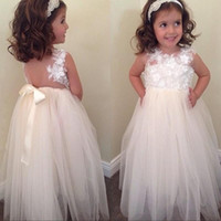 Wholesale Ribbon Bowknot Wedding - 2017 New Cute A-line Bowknot Floral-Appliques White Flower Girls' Dresses Floor-Length Sleeveless Backless Little Girls Wedding Party Gowns