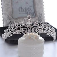 imparatorluk kronu taç toptan satış-Prenses El Yapımı Düğün Gelin Rhinestone Kalp Emperyal Taç Tiara Kafa Hairband Nedime Takı Başlığı Saç Aksesuarları Balo