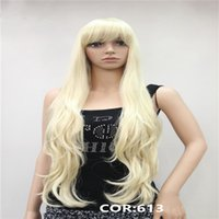 Wholesale Wavy Red Wigs - 30inches Long Wavy Synthetic Wig Blonde, Red Full High Temperature Fiber Women's Wigs 3 colors