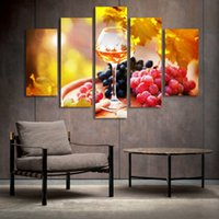 Wholesale Oil Paint Fruit - 5 Panel Painting Glass Wine Fruit Painting Canvas Art Prints Wall Pictures for Living Room Kitchen Dining Room Home Decoration Unframed
