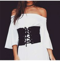 Wholesale Vintage Black Faux Suede Lace Up Corset Bandage Womens High Waist Belt New Shape Making Slim Dress Midriff Cinchers Black Belt
