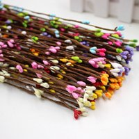Wholesale Brown Blue Green Wires - Wholesale- Cheap 10pcs 40cm Bud Artificial Branches Flower Iron Wire For Wedding Decoration DIY Scrapbooking Decorative Wreath Fake Flowers