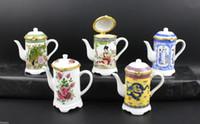 Wholesale Handmade Ceramic Boxes - Wholesale- Porcelain Jewelry Storage Holder Box Ceramic Toothpick Holder Container Gift Box Chinese Handmade Vintage Teapot Shape