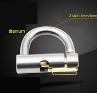 Wholesale Titanium Male Chastity Devices - 2017 Titanium D-Ring PA Lock Glans Piercing Male Chastity Device Penis Harness Restraint BDSM Fitting PA Puncture Slave Tools Sex Toy