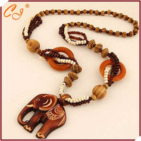 Wholesale Necklace Exotic - Wholesale-New travel accessories exotic boximiya ethnic wooden wooden elephant sweater chain necklace restoring ancient ways