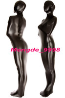 zentai glänzend sexy großhandel-Unisex Full Mummy Anzug Schwarz Shiny Metallic Mummy Kostüme Outfit Unisex Schlafsack Fancy Bodybag Kostüme New Halloween Cosplay Anzug M082