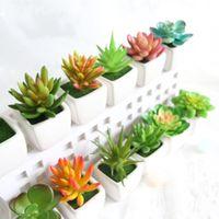 Wholesale fake pot plants - Mini Simulation Succulents Tropical Cactus Fake Flowers Zakka Artificial Potted Plants With Vase Bonsai For Office Home Decorative 3 7fm R