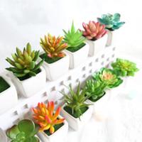 Wholesale mini bonsai artificial resale online - Mini Simulation Succulents Tropical Cactus Fake Flowers Zakka Artificial Potted Plants With Vase Bonsai For Office Home Decorative fm R