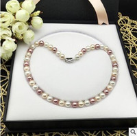 Wholesale Nanyang Beads - Natural Deep Sea Nanyang Mother Pearls Pearl Necklace Colorful Bead Round Micro Necklace Female 925+box