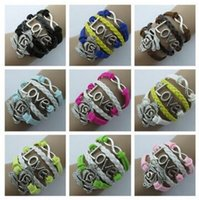 Wholesale Multi Color Letter Slide Charms - Rose LOVE8 word retro leather Charm Bracelets Antique Cross Bracelets multi-color fashion Multilayer Bracelet jewelry gift Accessories