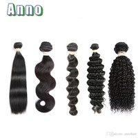 Wholesale Blonde Brazilian Curly Hair Weaving - Anno Hair 7A Virgin Hair Body Wave Straight Loose Deep Curly 100g pc Unprocessed Human Hair Weaves Bundles Body Wave