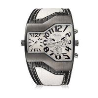 Wholesale Oulm White - Oulm Multiple Zones Watch Men Casual Sport Quartz Watches Cool Fashion Alloy Luxury Wristwatch Irregular Shape Leather Stap