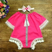 Wholesale Retro Style Clothing Wholesale - Vintage Style Factory Knit Cotton Lace Baby Clothes Half Sleeve Retro Tassels Baby Romper Clothing Headband Girls Clothes