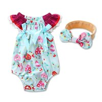 Wholesale Sweet Trees - 2017 Summer New Baby Girl Sweet Bodysuit Woven Cotton Tree Print Sleeveless Jumpsuits +Headband Toddler Clothing 17010