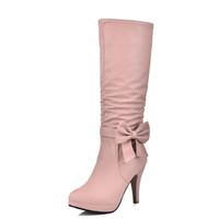 botas femininas azuis venda por atacado-Plus Size 34-43 Mulheres Botas Spike Saltos Dedo Do Pé Redondo Botas Na Altura Do Joelho Mulher Sapatos Botas Femininas Preto Branco Rosa Azul