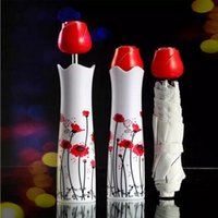 vasos de guarda-chuva venda por atacado-Criativo Vaso Guarda-chuva Rosa Lidar Com Ensolarado E Chuvoso Guarda-chuvas Sol Sombreamento Anti UV Garrafa Bumbershoot Para As Mulheres Populares 9ms BC