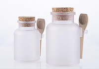 Wholesale Salt Jars Bottle - 100g 200g bath salt Bottle 100ml 200ml powder plastic bottle with cork bath salt jar with wood spoon