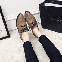 Wholesale Thick British Women - Spring Autumn Woman Vintage Flat Shoes British style Pointed toe Oxfords Thick Heel Bullock Shoes Fashion College Women shoesf