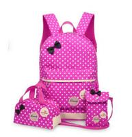 mochilas princesas al por mayor-3 unids / set Lovely Children Nylon Bags 2017 New Solid Canvas Fashion Bow Design Mochila Princess School Kids Mochila para Niñas y Niños