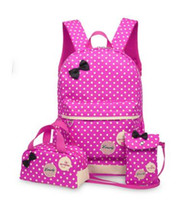3pcs / set Lovely Children Nylon Bags 2017 New Solid Canvas Fashion Bow Design Mochila Princess School Kids Mochila para meninas e meninos