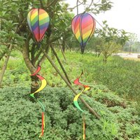 Wholesale Tail Balloons - 6 Panel Rainbow Hot Air Balloon Wind Spinner Wind Spinner Includes Curlie Tail Colorful Kinetic Hanging Decoration Garden Windmill