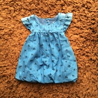 Wholesale Patterns Toddler Dresses - Baby Clothes Infant Girls Denim Dresses Spring Flying Sleeve Round Neck Flower Pattern Double Fabric Toddler Dress