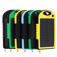 Wholesale mobile battery powered solar - Universal 5000mAh Portable Solar Charger Banks Waterproof Solar Panel Battery Chargers for Samsung Smart Mobile Phone iphone7 Power Bank