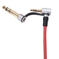 ingrosso battere i cavi-Vendita all'ingrosso nero rosso 6.5mm 3.5mm primavera sostituzione cavo audio per cuffie per Monster Beat Pro Detox Solo AUX cavo 50pcs / Lot