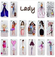 Wholesale Girl Iphone 4s Wallet - For iPhone 7 Plus 6 6S Plus 5 5S 5C SE 4 4S Phone Case Cover Fashion Dress Shopping Girl Transparent Soft Silicon TPU Mobile Phone Bag