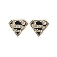 Wholesale Earring Superman - Free Shipping $10 (mix order) Superman S Logo Triangle Geometric Stud Earrings Jewelry E078