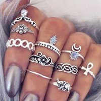 Vente en gros 10pcs / set Vintage Bohemian Bohemian BOHO Anneau Hollow Geometric Moon Elephant Flower Punk Joint Ring Femmes Finger Jewelry Wholesale