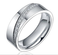 6mm Men's Women's Silvery Cubic Zirconia Inlay Eternity Ring Titanium Matching Set Wedding Band