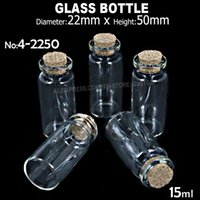 Vente en gros - 6pcs / lot 15ml 22x50mm Clear Glass Cork Stopper Bottles Jars pour DIY Wish Message Exemple de parfum Uail Art Beads Vials container