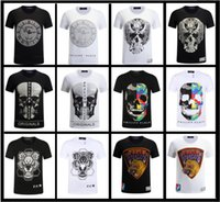 Wholesale Sleeve Flash - PP Brand T Shirt Men Short Sleeve Shirts Cotton PHILIPP PLEIN Turn-Down Collar T-Shirt Casual Tops Tees Homme Hiphop Tshirt Boy Camis M-XXXL