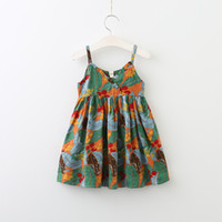 Wholesale Lace Trim Party - Everweekend Girls Ruffles Leaves Floral Print Sundress Cute Baby Trimmed With Agaric Laces Summer Party Clothing