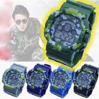 спортивные наручные часы оптовых-Камуфляж часы человек 7 цвет студентов спортивные часы светодиодный хронограф Водонепроницаемый армия электронные военные наручные часы хороший подарок для мужчин мальчик