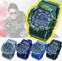 Wholesale Digital Watch Colour - Camouflage watch man 7 colour students sports watches LED chronograph Waterproof army electronic military wristwatch good gift for men boy