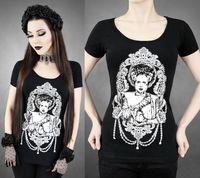 Wholesale women gothic t shirts - Black Summer Women's Scoop Neck Short Sleeved T-Shirt BRIDE OF FRANKENSTEIN Horror Gothic 3d Printed Blouse