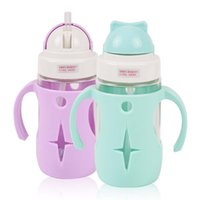 Wholesale Drink Cases - Wholesale- 260ML Baby Kids Water Bottle With Straw Child drinking bottle Feeding Glass Cup Tumbler leak proof with Handle and Silicone Case