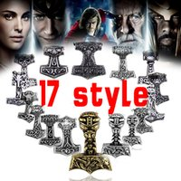 Wholesale Celtic Pendant Silver Knot - Wholesale- free shipping Sect Silver Plated Thor Hammer Knot Pendant Necklace Viking Norse Odin Jewelry For wholesale Men Christmas gifts