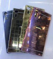 Wholesale Performance Mirror - For Sony Xperia XZS,XA,XZ,X Compact, X Performance Mirror Case+Aluminum Bumper Frame Hybrid Bling Hard Alloy Metallic Plating Metal Skin