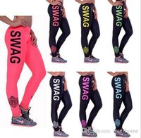 Compra Le Donne Giurano-Summer High Stretched Lettera SWAG Stampato Lady Skinny Pantaloni Donna Lavoro Gilet Leggings Fit Swear Pantaloni Yoga Fitness Slim Sexy I28