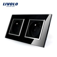 Wholesale LIVOLO A French Standard Wall Electric Power Double Socket Plug Crystal Glass Panel VL C7C2FR