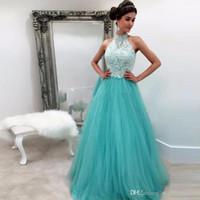 Wholesale Aqua Blue Lace Evening Dresses - Halter Style Turquoise Prom Dresses aqua blue Tulle Evening Gowns Lace Applique 8th grade graduation dresses Long Party Sweet 16 prom gowns